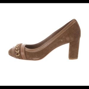 Tory Burch suede chain link pump